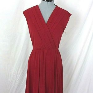 41 Hawthorn Dress Red V Neck Cap Sleeve Small Knit